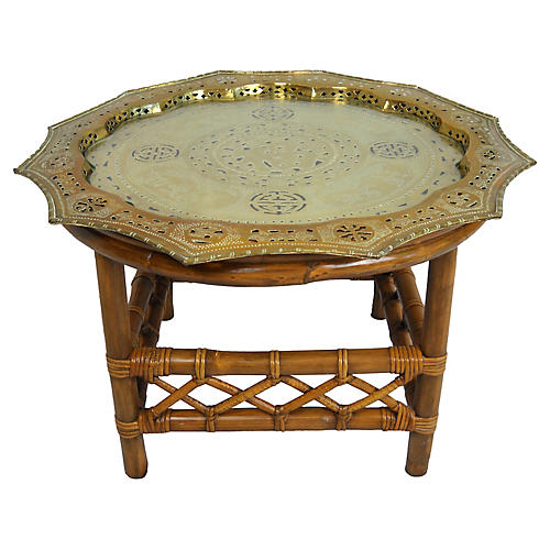 Asian Pierced Brass & Glass Bamboo Table