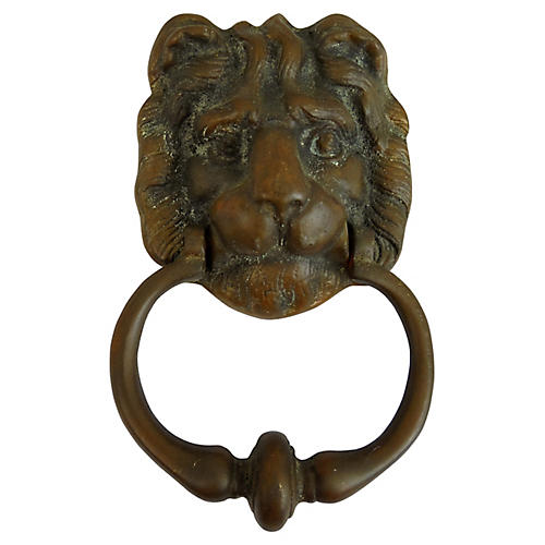English Bronze Lion Door Knocker