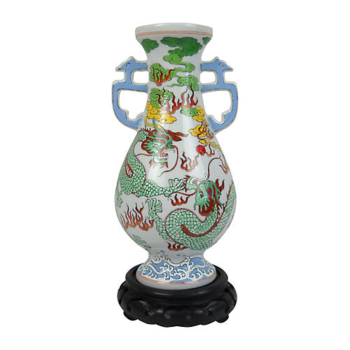 Double Dragon Vase w/ Stand