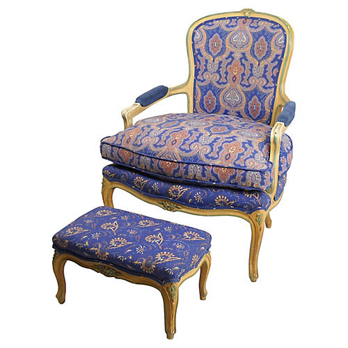 W. & J. Sloane Fauteuil and Ottoman