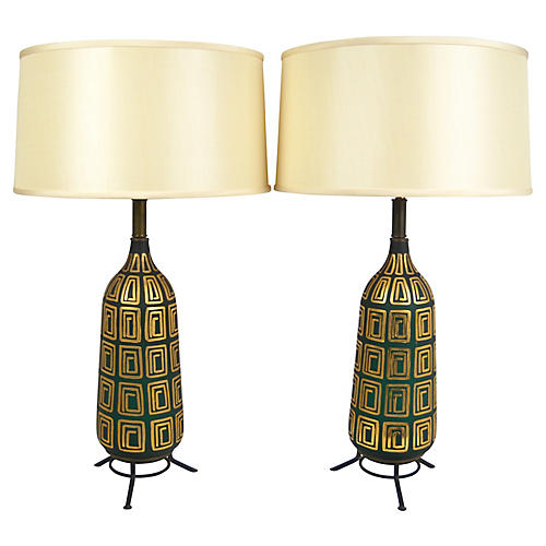 Midcentury Glass Lamps, Pair