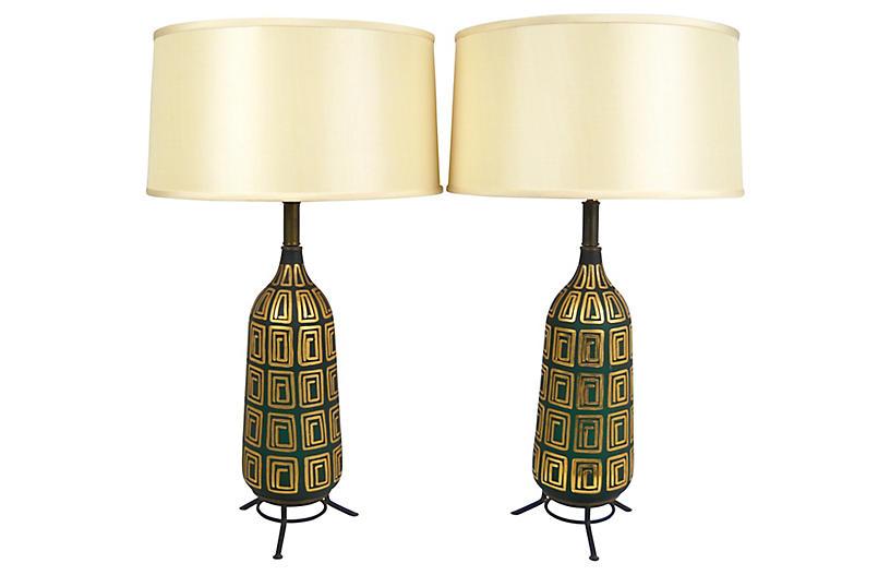 Midcentury Glass Lamps, Pair