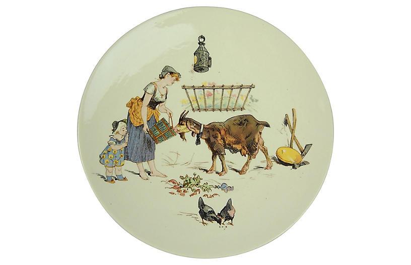 Milk Maid & Goat Sarreguemines Plate