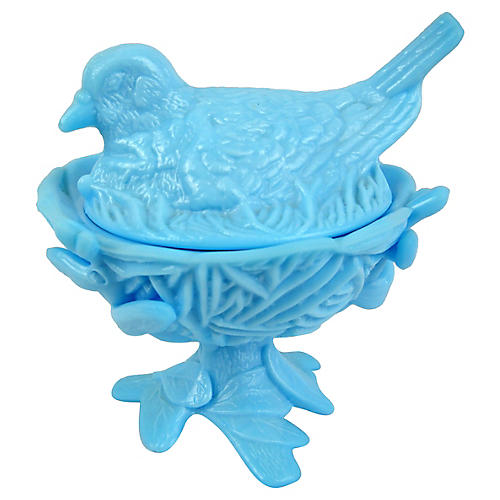 Blue Bird-on-Nest Bonbonierre, 2 Pcs