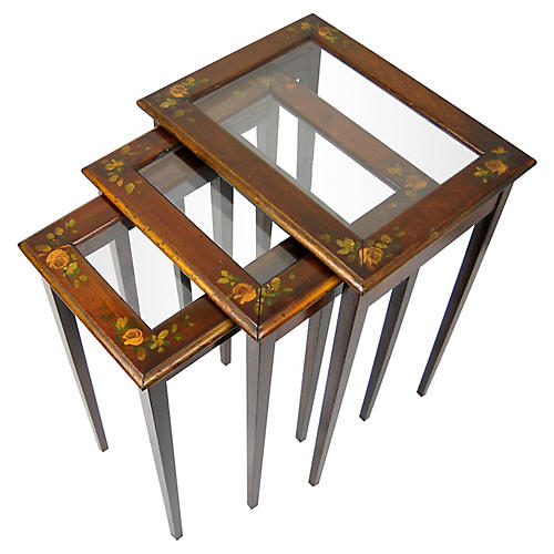 Hand-Painted Nesting Tables, S/3