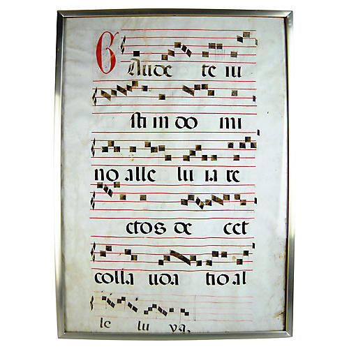 Framed Antique Latin Antiphonal Hymn