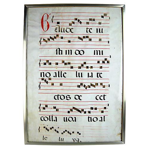 Framed Antique Latin Antiphonal Hymn