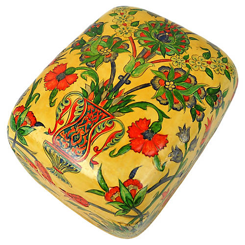 Floral Painted Lacquered Trinket Box