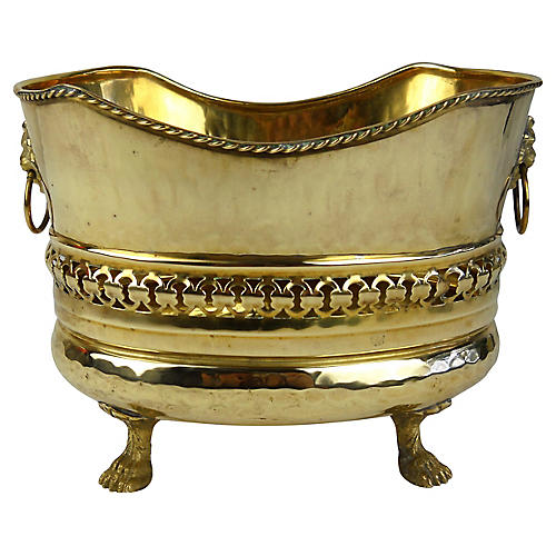 Lion Head Handle Brass Jardiniere