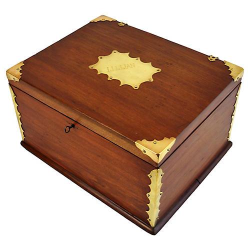 Antique Lillian Brass & Wood Box