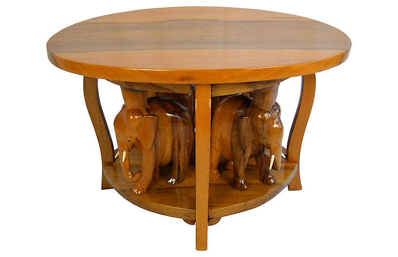 Carved Elephant Table, 5 Pieces