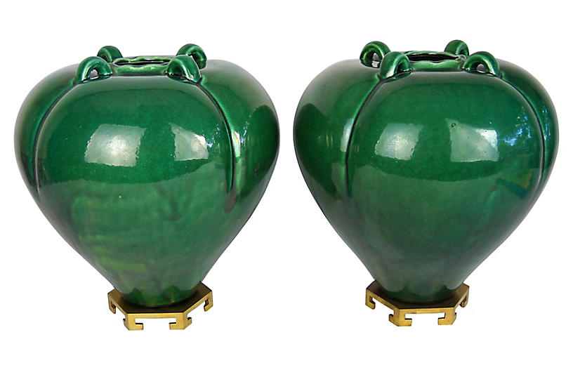 Melon Vases on Stands, Pair