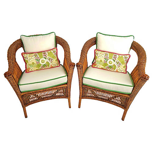 Natural Wicker Armchairs, Pair