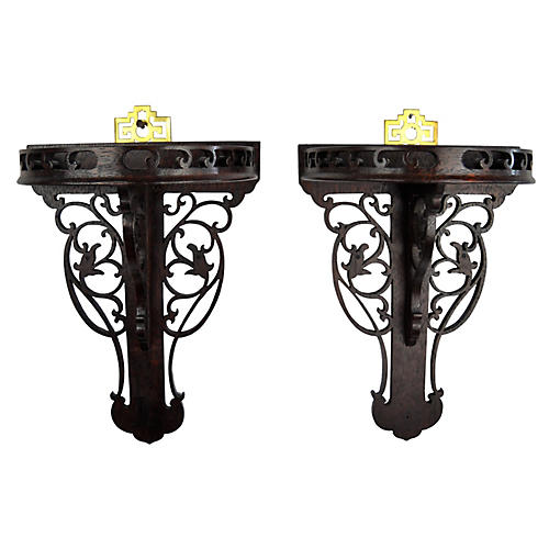 Chinoiserie Wood & Brass Brackets, Pair