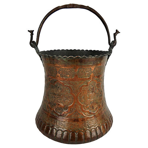Large Moorish Copper & Pewter Pail