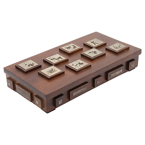 Wood Box w/ Brass Accents
