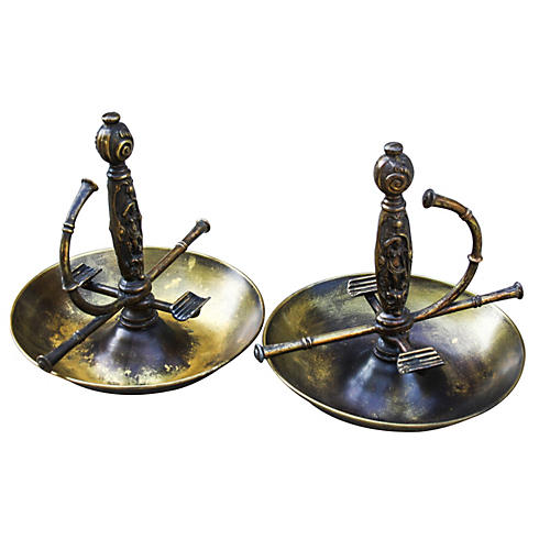 French Brass Fencing Grips Ashtrays, S/2