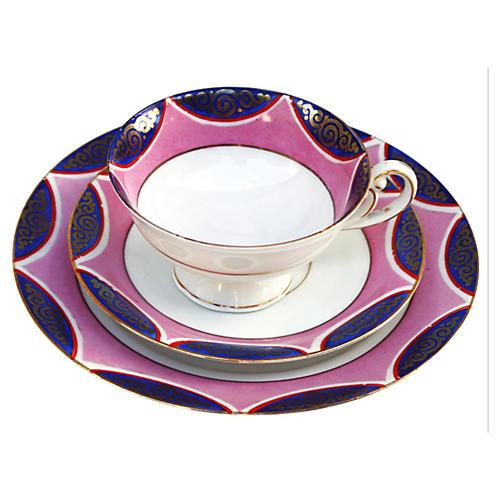 Midcentury Pink & Gold Dessert Set, S/3