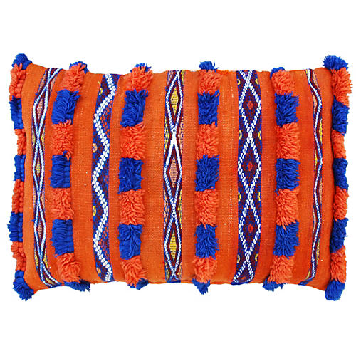Blue & Orange Moroccan Berber Pillow