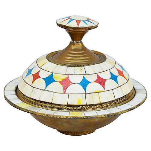 Moroccan Lidded Bowl w/ Bone Inlay