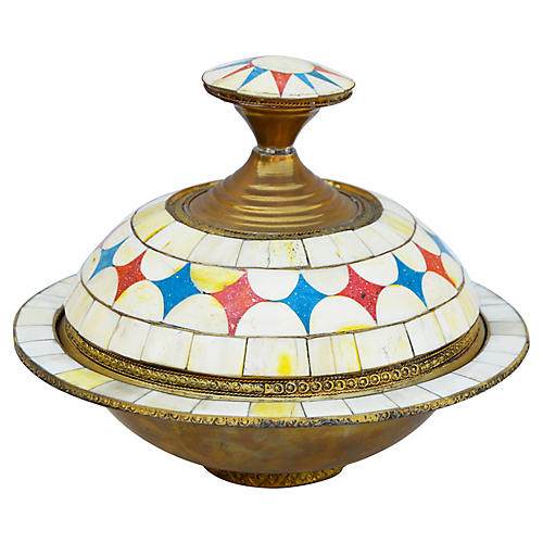 Moroccan Lidded Bowl w/ Bone Inlay