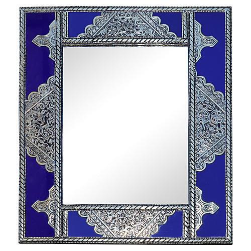 Blue Moroccan Mirror w/ Silver Engraving