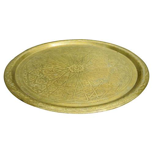 Moroccan Brass Tray w/ Pattern