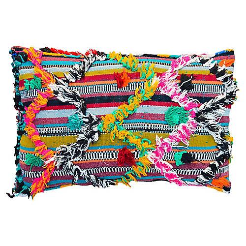 Orange & Pink Berber Pillow w/ Diamonds