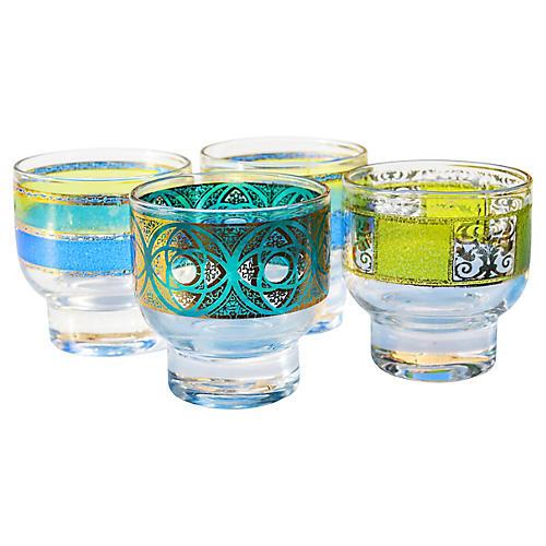 Midcentury Colorful Glasses, 4-Pcs