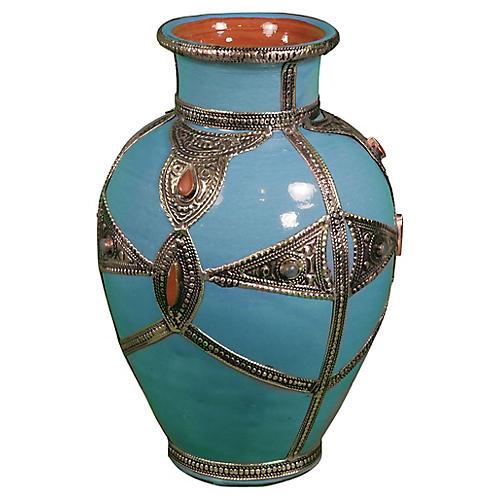 Blue Moroccan Ceramic Vase w/ Engravings