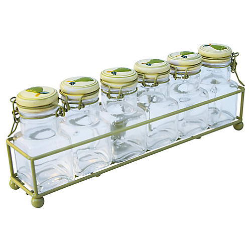 Midcentury Glass Jars, 7 Pcs