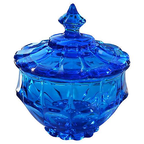Midcentury Blue Candy Jar