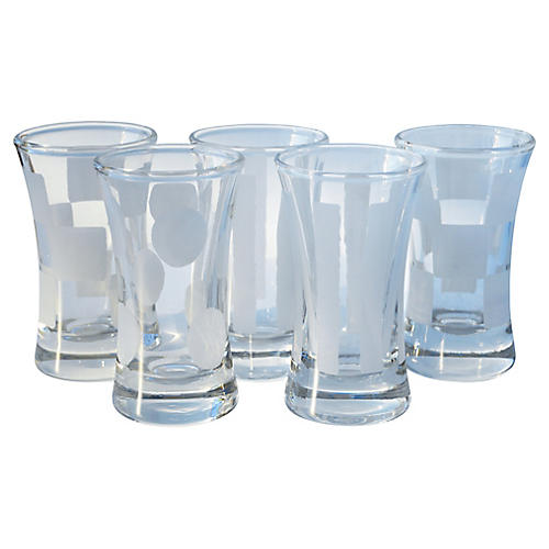Shot Glasses w/ Frosted Shapes, S/5