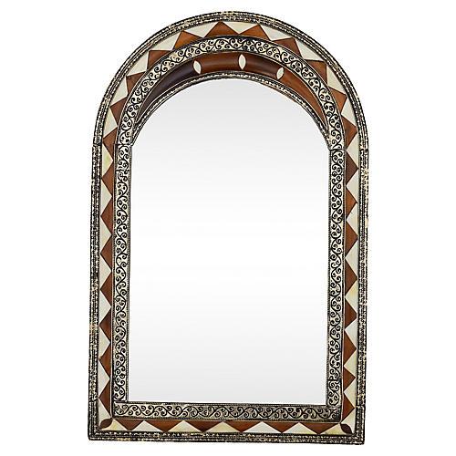 Moroccan Bone-Inlay Mirror