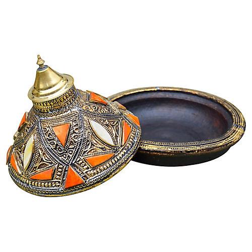 Moroccan Lidded Dish w/ Orange & Brass