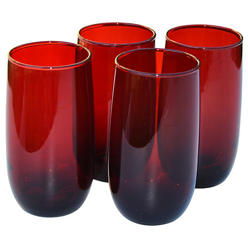 Midcentury Red Glasses, S/4