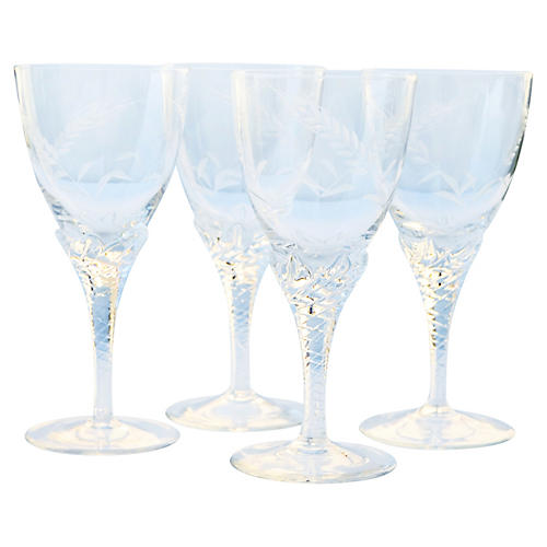 Midcentury Glasses w/ Wheat Motif, S/4