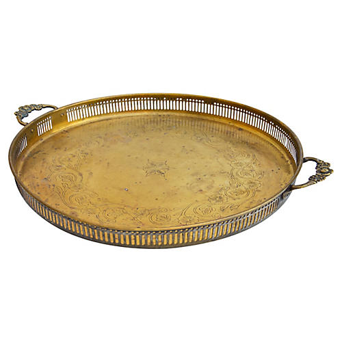 Moroccan Brass Tray w/ Ornate Engravings