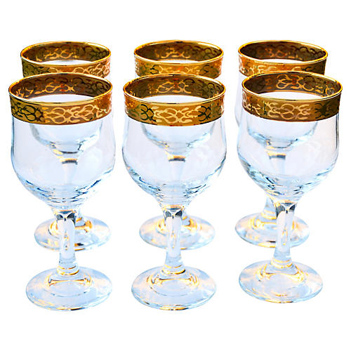 Midcentury Gold-Banded Glasses, S/6