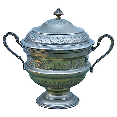 Hand-Engraved Moroccan Silver Urn