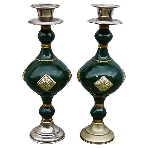 Handmade Moroccan Candleholders, S/2