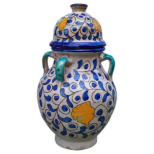 Blue & Orange Moroccan Vase