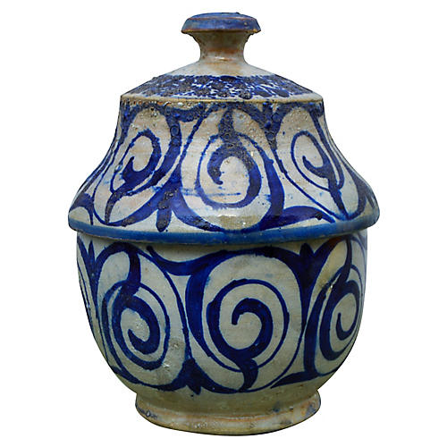 Antique Moroccan Blue Ceramic Box