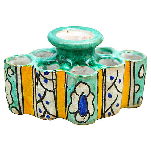 Moorish Ceramic Inkwell w/ Ornate Motif