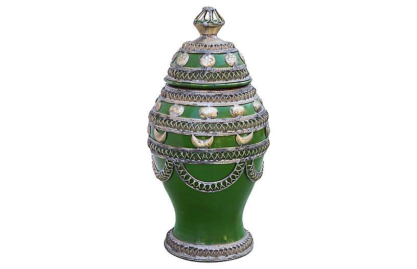Moroccan Ceramic Vase w/ Silver Inlay