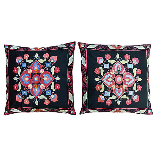 Boho-Chic Pillows, Pair