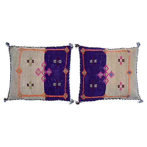 Purple & Orange Berber Pillows, Pair
