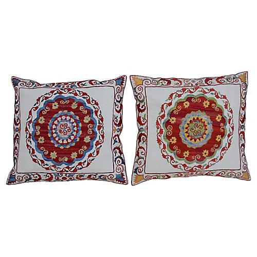 Floral Silk Pillows, Pair