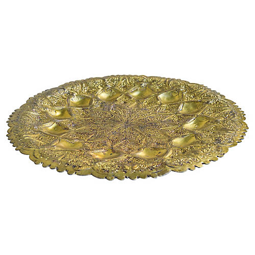 Moroccan Hand-Hammered Brass Tray