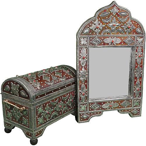 Handmade Moroccan Mirror & Chest